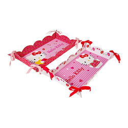 Hello Kitty - Hello Kitty Daisy Platter Set - With a gorgeously decorated design and ribbon embellishments, this platter set is handy for hauling birthday cupcakes and more.   Includes two platters 14.75'' W x 1.75'' H Paper / ribbon Imported