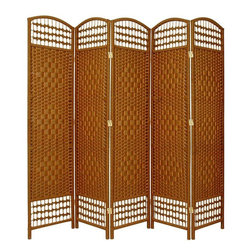 Oriental Furniture - 5 1/2 ft. Tall Fiber Weave Room Divider - DarkBeige - 5 Panel - This is an exotic and attractive decorative room divider, crafted from wood frames and spun plant fiber cord. The plant fiber cord takes colored dye beautifully, and is interwoven with quarter inch wood dowels to create a pattern similar to classic rattan folding screens. The wood is light weight, with three extra horizontal members reinforcing the frame, creating a light, durable floor screen.