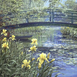 Murals Your Way - Monet's Bridge Wall Art - Yellow irises in the foreground of this landscape mural lead the eye towards a small wooden bridge