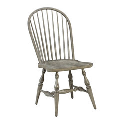 French Heritage - Morlaine Chairs, Slate Grey, Side Chair - This Morlaine chair withits classic spindled back, continuous arm, and carved saddle seat for comfortis always at home. - Two Doors. - Four Drawers. - Weight: 27lbs