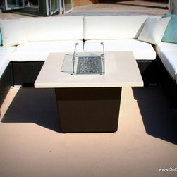 So Cal Fire Pits by COOKE - Aluminum fire pit with powder coated bronze base and beige top by Cooke furniture