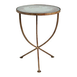 Kathy Kuo Home - Sojourn Contemporary Antique Mirror Round Accent Side Table - Architectural elements and vintage character combine in the form of a Madrid gold finished, antique mirrored table which bridges the old and new beautifully.  Traditional and rustic spaces will love the aged, yet eternal style of this piece.
