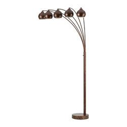 Cal Lighting - Cal Lighting BO-2030-5L-RU 60 Wx5 Metal Arc Floor Lamp With Metal Shade - 60Wx5 Metal Arc Floor Lamp W/Metal Shade