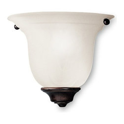 Dolan Designs Lighting - Small Single-Light Sconce - 225-30 - This sconce features an alabaster glass shade, which provides diffused illumination perfect for a bathroom, bedroom or hallway. The bell-shaped shade has a scalloped pattern, which adds depth and dimension to the shade. The deep, dark royal bronze finish goes with a variety of color schemes. Takes (1) 60-watt incandescent flame bulb(s). Bulb(s) sold separately. UL listed. Dry location rated.