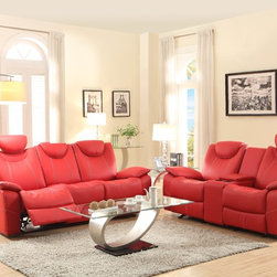 Homelegance - Homelegance Talbot Double Reclining Sofa in Red Leather - Designed with your bold design choices in mind  the contemporary Talbot Collection will provide your family and friends with a comfortable place to spend their quality time. Offered in red or black bonded leather match  the race car inspired bucket seat is fine tuned by contrast double stitching. Features include: adjustable headrests  reclining ends sofa  glider reclining love seat with console and glider mechanism equipped coordinating chair.