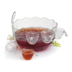 Creative Bath Punch or Salad Bowl - Set of 7 - Elegant and versatile, the Creative Bath Punch or Salad Bowl - Set of 7 makes it easy to serve cool, refreshing punch or a big, crunchy salad at your next party. This handy serving set includes a large, 3.5-gal. capacity bowl that doubles as a punch bowl or salad bowl. It has a deep, round shape with scalloped edges for an elegant flair. It's made in the USA of durable yet lightweight clear acrylic, so you don't have to worry about it breaking. It comes with 12 punch cups, a ladle, salad fork, and salad spoon. All pieces hook over the rim of the bowl for added convenience.Set Includes:Punch/salad bowl: 14 diam. x 7.88H inchesPunch ladle12 punch glassesSalad forkSalad spoonAbout Creative BathFor over 30 years, Creative Bath has developed innovative, stylish bathroom decor items. They have grown exponentially, and now you can find their products in major retail and online stores around the world. From shower curtains to soap dishes and everything in between, Creative Bath brings you high quality items to enhance your lifestyle.