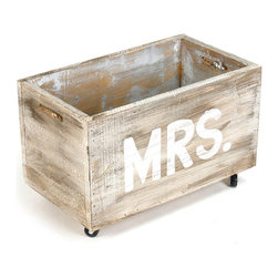 "Small Cart ""Mrs."" - Easily rolled on small caster wheels and emblazoned with ""Mrs."" in white stenciled capitals, this Small Cart permits charming control over space and storage. The rolling crate has cutout handles that make it easy to use in the bedroom or bath as a portable storage piece, while its rustic finish adds an intimate, tactile feel to a winsome gift for the wedded."