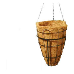 Beehive Hanging Basket with Coco Liner - The world is buzzing about the shapes and sweeping open designs of the Beehive Hanging Basket with Coconut Liner. This uniquely shaped planter is suspended from a heavy-duty chain and includes a strong chain hanger. Notice how the swirling metal curves up and around, creating more open space to see the natural coconut fiber liner (included). Hanging baskets are great for small space gardening - try dangling them at different heights for a high-impact hanging garden on your balcony or deck. Also available with moss mat inserts or with tripod stand for use as a freestanding planter.