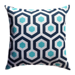Land of Pillows - Towers Navy Blue and Magna Outdoor Throw Pillows, Oxford, Set of 4 - Fabric Designer - Premier Prints