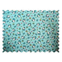 SheetWorld - SheetWorld Hello Kitty Blue Fabric - by The Yard - 100% cotton flannel fabric. Features a Hello Kitty Blue print.