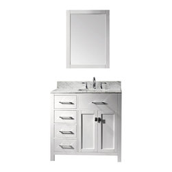 Virtu USA - 36in. Caroline Parkway White Single Square Sink Bathroom Vanity Left - Inspired by the Caroline, the Caroline Parkway vanity offers a clean sleek structure with abundant storage. The vanity is constructed from quality solid oak wood and finished in elegant white or espresso color. The Caroline Parkway also features an Italian Carrara white marble countertop and a matching backsplash. This vanity will be a great striking centerpiece to any bathroom design.