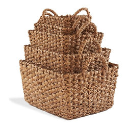 "Viva Terra - Chunky Seagrass Baskets (set of 5) - Made of thickly braided seagrass fiber and fitted with sturdy handles, thesebaskets hold everything from craft supplies to laundry to kids' toys to linens.11.25""–20.25""L x 7.5""–15""W x 2.25""–11""H"