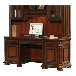 Riverside Furniture - Riverside Furniture Cantata Computer Credenza - Riverside Furniture - Computer Desks - 4926 - The Cantata Computer Credenza is a celebration of the classic office style loaded with function for the home office. Featuring premium quality poplar hardwood solids with cherry and birch veneers this credenza will be part of your home office for generations. Several features like a CPU compartments wiring access holes ventilation slots and felt lined bottoms make sure that your computer and other gadgets are accommodated. Tip restraining hardware make sure that your office will be a safe place for small children to wander and play in and base levelers in the bottom of all bun feet ensure that uneven floors will not be a problem. The Cantata Home Office Collection features is an ode to the furniture of the Italian Renaissance. This collection blends antique style and modern innovation to create a unique piece of art which is unnaturally casual. The pieces in this ensemble are made of premium quality poplar the same wood on which the Mona Lisa and other famous early renaissance Italian paintings were crafted and is accentuated with cherry and birch veneers to create this truly inspired collection which will surely be the highlight of your home office.
