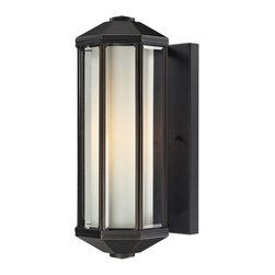 "Z-Lite - Cylex Outdoor Wall Light in Oil rubbed bronze - With dual glass paneling consisting of outer beveled glass and inner matte opal glass, this combination creates an inviting glow, which compliments this outdoor wall mount's aluminum hardware, finished in oil rubbed bronze.; Collection: Cylex; Frame: Oil rubbed bronze, Aluminum; Shade: Matte Opal, Glass; Bulb: 100 watts, Medium base; No. of bulbs: 1; Bulb not included.; UL Application: Wet; Dimensions: 7.7""L x 6""W x 15.8""H; Weight: 5.9083816 lbs."