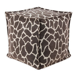 """Chooty - Chooty Giraffe Bitter Simply Soft Collection 17"""" Square Seamed Beads Hassock - Insert EPS Styrofoam Beads, Fabric Content 65 Poly 35 Cotton, Color Brown, Tan , Ottoman 1"""