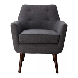 TOV Furniture - Clyde Grey Linen Chair - Clyde Chair has a clean Mid-Century aesthetic, characterized with, small scale button tufting and solid wood legs.