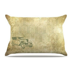 Getaway Car Pillowcase - Let's get away from it all with a stylish getaway car. This cozy pillow featuring Art Deco accents will make being on the lam oh so nice. Constructed out of a golden microfiber fleece, bring the style of the 1920s and 30s to your bed or sofa.