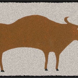 Home Infatuation - Bull Design Outdoor Area Rug - This indoor/outdoor area rug is derived from the imaginative series of original art work created by artist David Milliken. Elements from the paintings are extracted to create whimsical, humorous and abstract decorative solutions for both indoors and outside.
