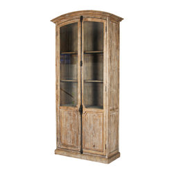 Chester Cabinet - Vitrine doors allow an unobstructed view of the Chester Cabinet's twin virtues: humbly handsome craftsmanship and simply beautiful wood.� The limed oak used for this attractive storage and display hutch forms double doors that close over deep shelves below the slight indulgence of a smoothly arched top.� In a dining room or at the end of a hall, with carefully-chosen contents, the visual effect instantly brings you home.