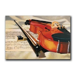 "Symphony 16x24 Print - ""Symphony"" is a canvas giclee depicting a violin and sheet music by Denard Stalling. This 16x24 canvas is gallery wrapped. We take the fine art canvas and stretch it over a wooden frame, adhering the canvas to the backside of the frame. The canvas actually wraps around the edges of the frame, giving your print the look of a fine piece of art, such as you might find in an art gallery. There is no need for a picture frame. Your piece of art is ready to hang or lean against a wall, or display on an easel."