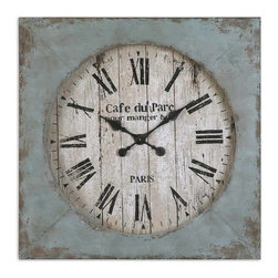 Uttermost - Paron Rustic Cafe du Parc Square Wall Clock, Distressed Blue, 29x29 - This  delightfully  rustic  distressed  wall  clock  features  a  square  border  with  the  look  of  an  old  painted  fence  for  the  clock  face.  Black  painted  lettering  on  a  white  background.  Border  features  an  aged  blue  finish  with  rusted  red  and  brown  undertones.  Heavily  distressed  edges.  Clock  face  is  antiqued  to  give  it  a  weathered  look.