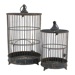 Selectives - Gideon Decorative Birdcages, Set of 2 - With lots of decorating potential, this set of 2 metal birdcages open to hold candles, flowers, greenery and plants inside. A dramatic decoration for the home, garden or patio.