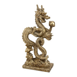 """Oriental Furniture - 12"""" Standing Long Dragon Statue - Straight out of Chinese legends, this high-quality resin statue depicts a sinuous dragon clutching a mysterious sphere. The dragon has a long history in China, where it is associated with fortune, power, and nobility, and often appears holding a luminous orb. Some believe this represents the sun, which ancient people believed a dragon chased across the sky, while others believe that it is a rare and valuable pearl that the dragon may bestow upon a worthy individual. Either way, this beautiful sculpture is a handsome gift and a striking accent piece perfect for displaying on a shelf or table."""