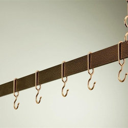 Rogar - Hanging Bar Rack in Hammered Copper (36 in.) - Choose Size: 36 in.Made of Steel. Hammered Copper finish. Rack is perfect over a kitchen island. Puts cookware and utensils at hand. Each rack comes w 2 pieces of 18 in. plated chain. Special design ensures hooks won't slide off bar. Powder coated Steel in 36 in., 42 in., 48 in. and 54 in. L. Includes 6 Copper Hooks. 36 in. L x 2 in. H (10 lbs.). 42 in. L x 2 in. H (11 lbs.). 48 in. L x 2 in. H (12 lbs.). 54 in. L x 2 in. H (13 lbs.)