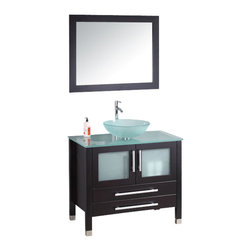 """Cambridge - Cambridge 36"""" Solid Wood Glass Vessel Sink Vanity Set w/Polished Chrome Faucet - The vanity set comes complete with a dark Espresso cabinet with two soft close doors and two soft close drawers. A contemporary tempered glass counter top and vessel sink top off the modern look. Each door has a tempered glass insert. An oversized wood trimmed mirror compliments the vanity and is included, as well as all of the required plumbing fixtures for installation. The single stem faucet sets above the bowl sink and can be upgraded to brushed nickel or to a waterfall faucet. You will absolutely discover something to match your bath room ambiance."""