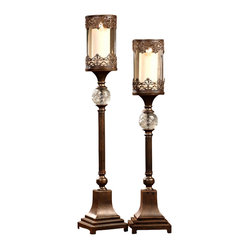 Crestview Collection - Crestview Collection Cvchi563 Regency Bronze Candleholders Set/2 - Crestview Collection CVCHI563 Regency Bronze Candleholders Set/2