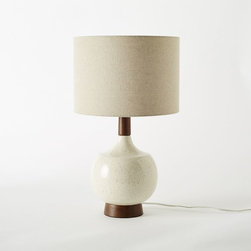 Modernist Table Lamp, Egg White - Here is a perfect neutral yet still stylish lamp. The wood accents are so natural and beautiful.