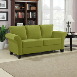 PORTFOLIO - Portfolio Provant Spring Green Velvet Sofa - Part of the Portfolio Collection,this Provant transitional flared arm sofa is comfortable and stylish. The sofa is covered in a beautiful spring green velvet.