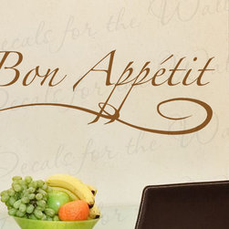 Decals for the Wall - Wall Decal Quote Sticker Vinyl Art Lettering Graphic Bon Appetit Kitchen KI11 - This decal says ''Bon Appetit''