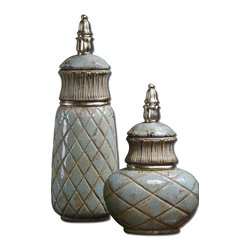 "Uttermost - Uttermost Deniz Sea Foam Ceramic Containers Set of 2 19689 - Distressed, crackled, sea foam green ceramic with a light glaze and metallic silver accents. Removable lids. Small size: 12""W x 18""H x 7""D, Large size: 8""W x 24""H x 6""D."