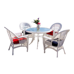 "Wicker Paradise - Cape Cod Dining Set of 5 White - The outdoor Cape Cod dining set of 5 includes 1 round dining table and 4 dining chairs. The dining table has a glass top and measures 46"" diameter and 29"" high. Each chair measures 29"" wide x 28"" deep x 36"" high. The furniture is made of resin wicker and is built on an aluminum frame to withstand all types of weather conditions. All pieces are fully assembled and are ideal for outdoor use as well as indoors.  Cushions are not included in this dining set."