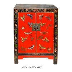 "Chinese Elm Wood Red Base Butterflies Side End Table - Dimensions: w23"" x d14.75"" x h33.5"""