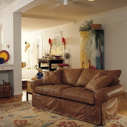 Leather Sofas for the Living Room or Family Room - Skirted Leather Sofa