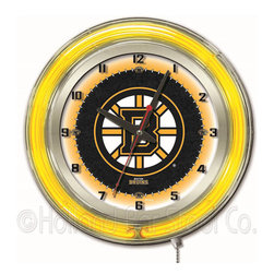 Holland Bar Stool - Holland Bar Stool Clk19BosBru Boston Bruins 19 Inch Neon Clock - Clk19BosBru Boston Bruins 19 Inch Neon Clock belongs to NHL Collection by Holland Bar Stool Our neon-accented Logo Clocks are the perfect way to show your team pride. Chrome casing and a team specific neon ring accent a custom printed clock face, lit up by an brilliant white, inner neon ring. Neon ring is easily turned on and off with a pull chain on the bottom of the clock, saving you the hassle of plugging it in and unplugging it. Accurate quartz movement is powered by a single, AA battery (not included). Whether purchasing as a gift for a recent grad, sports superfan, or for yourself, you can take satisfaction knowing you're buying a clock that is proudly made by the Holland Bar Stool Company, Holland, MI. Clock (1)