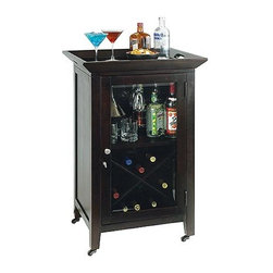 """Howard Miller - Butler Mini Wine Cabinet w Removable Tray - This exquisite mini wine cabinet rolls smoothly on integral casters and features a lift-off tray for serving convenience. The 24 inch wide, 13 bottle capacity cabinet is finished in rich Black Coffee accented with beveled glass and a brushed satin nickel knob. * This convenient tray-top cabinet features a removable top trayThe door features beveled glass with a brushed satin nickel knobThe cabinet includes a wood stemware rack for wine glasses and storage for glassware, spirits, and other accessoriesThe """"x"""" design wine rack may store up to 13 bottles of wineFour metal wheels are included for added mobilityBlack Coffee finish on select hardwoods and veneers38.25 in. H x 24 in. W x 19.75 in. D"""