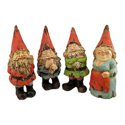 Set Of 4 Driftwood Look Garden Gnome Statues - This set of 4 adorable garden gnome statue look like they were carved from driftwood. Each gnome measures approximately 10 inches tall, 4 inches wide and 5 inches deep. You can set them up in a scenario in your garden, and create your own story for them. Exposed `wood` on their bodies and clothing give the gnomes a chic aged look. This statues look great in gardens and flower beds, and the set makes a great gift.