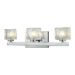 Z-Lite - Z-Lite Rai 3 Light Vanity Light X-V3-8203 - Interestingly textured oval glass shades are set upon finely finished chrome and brushed nickel fixtures with the contemporary Rai family.