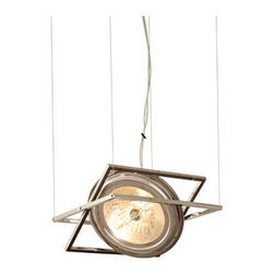 Edge Lighting - Form Suspension - Form Suspension features interconnected geometric shapes which tilts the directional light distribution to the position as desired. Polished nickel finish.
