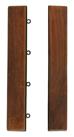 Bare Decor - U-Snap End Piece Interlocking Flooring in Solid Teak Wood (Set of 2) - The easy click End Piece interlocking flooring tiles come in a natural finish in a solid teak wood. No glue or tools are required- just snap the end piece to frame two sides of a U-Snap flooring tile. Can be used for indoor or outdoor settings. Perfect for a entryway, mudroom, deck, terrace, showers, bathrooms, or anywhere in between. Great product to redo flooring inexpensively.