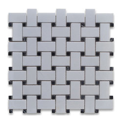 "Stone Center Corp - Thassos White Marble Basketweave Mosaic Tile Black Dots 1x2 Honed - Thassos White Marble 1x2"" rectangle pieces and Nero Marquina 3/8"" dots mounted on 12x12"" sturdy mesh tile sheet"
