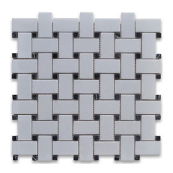 "Stone Center Corp - Thassos White Marble Basketweave Mosaic Tile Black Dots 1x2 Honed - Thassos white marble 1"" x 2"" rectangle pieces and Nero Marquina 3/8"" dots mounted on 12"" x 12"" sturdy mesh tile sheet"