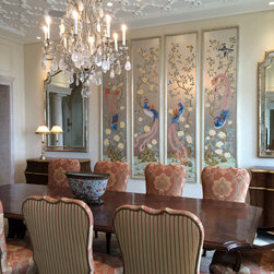 Chinoiserie Wallpapers - Paul Montgomery provides fabulous hand painted panels suitable for framing.  This set of Phoenix panels are hand painted on silver leaf.
