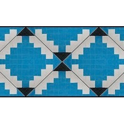 Casart coverings - Diamonds in the Ruff Wallcoverings, Cerulean/White, Border (13 Sq Ft), Casart Re - Add some Marrakesh style to your home dcor with this Moroccan-inspired collection of faux tile patterns. This border covering features a white and cerulean diamond pattern with black accents.
