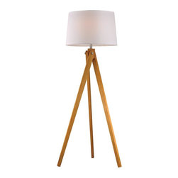 Joshua Marshal - One Light Natural Wood Tone Pure White Fabric Shade Floor Lamp - One Light Natural Wood Tone Pure White Fabric Shade Floor Lamp