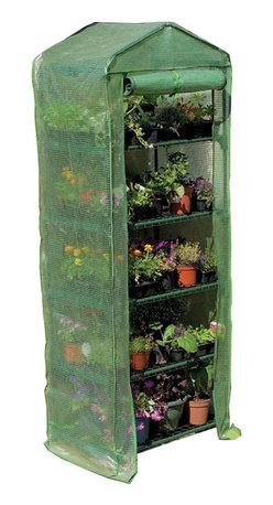 """Gardman USA - Gardman 5-Tier Mini Greenhouse - 5 TIER GROWHOUSE WITH HEAVY DUTY COVER - 6'7"""" high x 2'3"""" wide x 1'6"""" deep.   Ideal for limited spaces.  Shelving included.  Includes wall fixing rings and guy ropes."""
