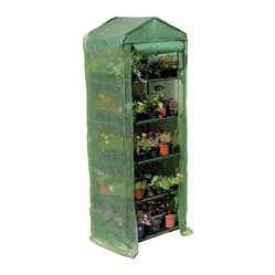 "Gardman USA - Gardman 5-Tier Mini Greenhouse - 5 TIER GROWHOUSE WITH HEAVY DUTY COVER - 6'7"" high x 2'3"" wide x 1'6"" deep. Ideal for limited spaces. Shelving included. Includes wall fixing rings and guy ropes."